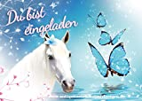 10 Einladungskarten zum Kindergeburtstag - Pferd - Schmetterling - Mädchen - Party - Geburtstag 7