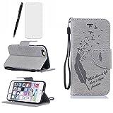 Lotuslnn iPhone 6/6S Coque,Flip Wallet Cuir Etui iPhone 6/6S Case Housse (4.7 Pouce)-( Coque+ Stylus Stift+Screen Protector)- Plume,Gris