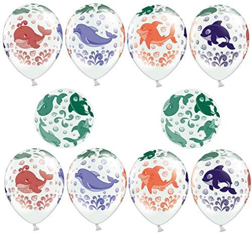 Libetui 10 Bunte Luftballons Deko Geburtstag Kindergeburtstag Party 30cm Meer - Meerestiere - Fische Luftballons