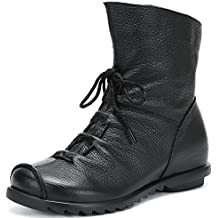 SAGUARO® Mujer Cuero Bota Botas de Nieve Impermeable Calientes Botines Plano Fur Boots Anti Deslizante Zapatos para Otoño Invierno