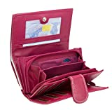 Pinke Damen Geldbörse Leder Lang mit viele Kreditkarten (Beidseitig bedienbar) Fächer Frauen Portemonnaie Portmonee Echtleder Geldtasche Brieftasche Franko (B55 Pink)