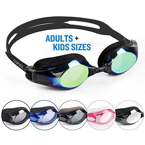 COPOZZ Schwimmbrille kommen mit übergroßen Doppelt Anti Nebel verspiegelt Linsen und 3D-Silikon-Dichtungen geben Schwimmer Kristall klar Vision und kein Leck, geeignet für Erwachsene Männer Frauen und Kinder 10+, Gold (Leistung Verspiegelte Goggle)
