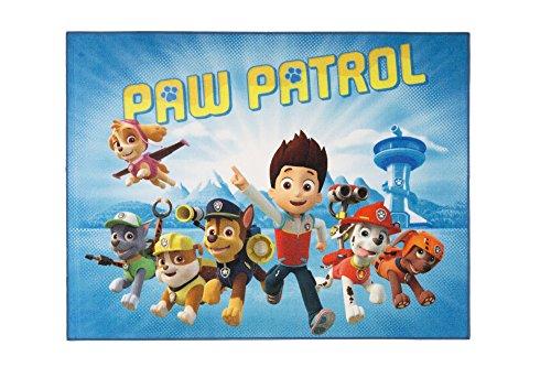 Aminata Kids Teppich Kinderzimmer Jungen Mädchen Paw Patrol 95x125 cm * Made in Europe * rutschhemmend lärmhemmend* Kinderteppich Hunde Helfer auf vier Pfoten Cartoon Spielteppich Spielunterlage