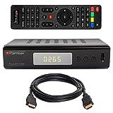 HB DIGITAL DVB-T/T2 SET: Opticum Terra HD 265 HEVC DVB-T/T2 Receiver + HDMI Kabel mit Ethernet Funktion und vergoldeten Anschlüssen (Full HD, HEVC/H.265, HDTV, HDMI, USB 2.0 DVBT DVBT2 DVB-T2)