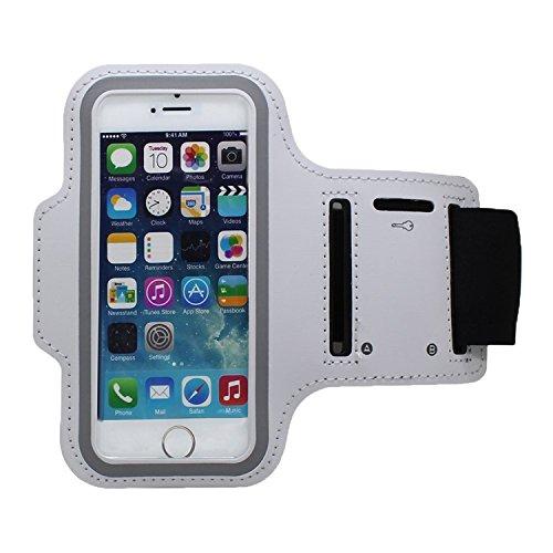 RotSale® 1x Weiß iphone 4 5 5s Handy Armband iPhone 3GS & iPod Touch Samsung Galaxy S3 mini Armhalter Wasserabweisend Klettverschluss Schutzhülle Etui Case für Sport Laufen Joggen Running Sicherheitsdesign