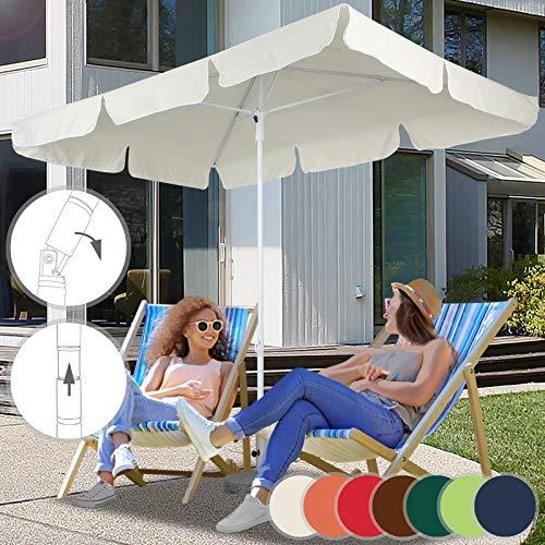 Parasol Rectangulaire | 180 x 120 cm, Hauteur Réglable, Inclinable, Protection UV 30+, Polyester, Couleurs au Choix | Parasol de Jardin, Terrasse, Balcon (Beige)