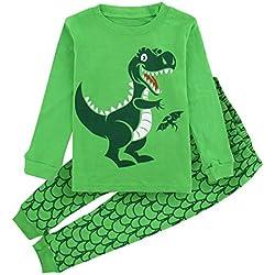 Mombebe Niños Chicos Dinosaurio Conjunto De Pijamas Ropa De Dormir (Dinosaurio 3, 4 años)