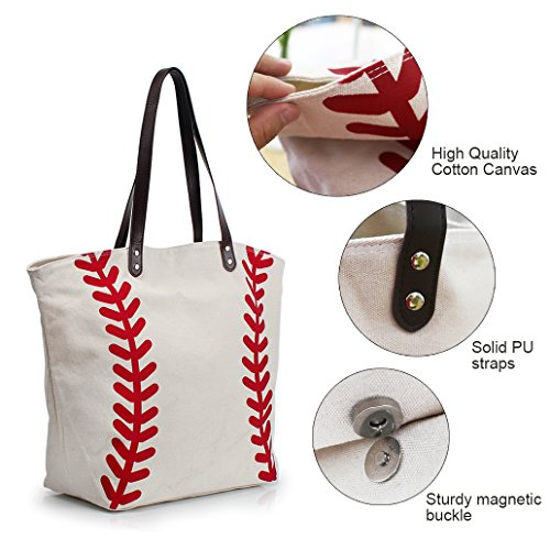 Baseball Bag Handbag for Woman Shopping Bag Travel Bag YIQIGO On Sale Canvas Casual Bag with Polyester Linning Sports Bag (flower) White