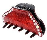 HOLLIHI - Pinza para el pelo para mujeres y niñas, tamaño grande, abrazadera antideslizante y resistente, accesorio para el pelo grueso, color rojo