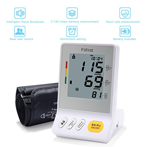 Monitor-de-Presin-Digital-Fitfirst-Tensiometro-Arterial-de-Brazo-Superior-LCD-52-Pulgadas-Pantalla-Emisin-de-Voz-Alta-para-2-Usuarios-240-Espacios-de-Memoria-con-Deteccin-de-Arritmias-2017-Update