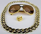 Panelize® Proll Lude Macho Proleth Angeber Hip Hop Rapper Bonzen Set - Brille Ring Kette Gold