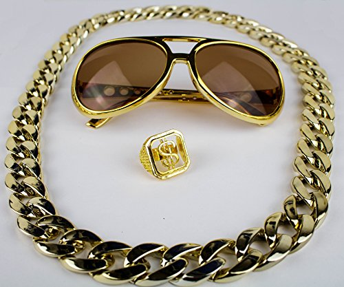 Panelize® Proll Lude Macho Proleth Angeber Hip Hop Rapper Bonzen Set - Brille Ring Kette (Kostüm Gold)