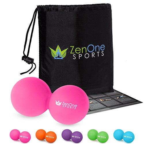 Faszienball ZenBall Duo mit Gratis E-Book, Tasche & Einstiegsguide I Massagerolle Twinball I Massageball Rücken I Massage Twinball (Pink)