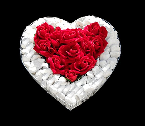 ♥ Grabherz mit Kies und Rosen 35,0×35,0x8,0cm Grabschmuck Grabherz Herz Gabione Pflanzschale Pflanzherz Herzgitter Blumentopf Zierkies Herzgitter