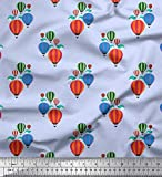 Soimoi Blau Baumwolle Batist Stoff Wolke & Heißluftballon
