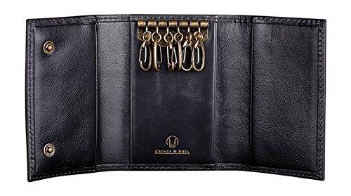 Cronus & Rhea Schlüsseletui aus exklusivem Leder (Janus) | Schlüsselmäppchen - Schlüsselanhänger | Echtleder | Mit eleganter Geschenkbox | Herren - Damen (Schwarz)