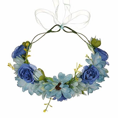 AdorabFitting Girlande garland girlande guder kranz gudelj grunwald Europa und Amerika Strandrosenblumen dunkelblau