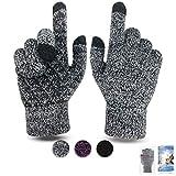Damen Winter Handschuh Touchscreen - Fäustlinge Damen Fahrradhandschuhe Warme Rutschfest Strick Handschuh Rutschfest für Frau (Schwarz-Weiß, M)