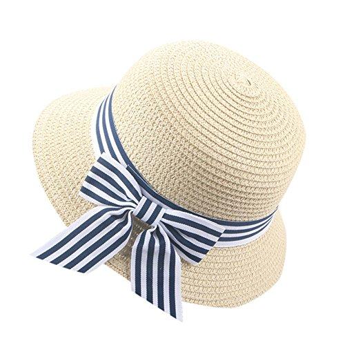inder Mädchen Fedora Hut Strand Sonnenhut Mütze Faltbarer Strohhut Trilby Gangster Hut mit Sonnenschutz breite Krempe und Bowknot für 2-6 Jahre altes Baby (Beige) ()