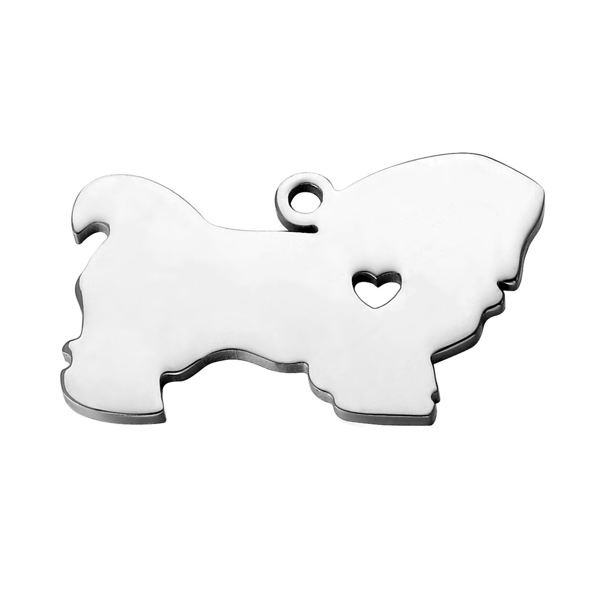 HooAMI Stainless Steel Handcrafted Pet Animal Chihuahua Dog Silhouette Charms Pendant 3×2.9cm