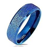 Bungsa 49 (15.6) Blauer Ring für Damen & Herren - sandgestrahlter, Blauer Damen-Ring aus Edelstahl mit abgerundeten Kanten - Edelstahlring Geeignet als Verlobungs-Ringe & Freundschafts-Ringe