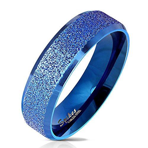 Bungsa 60 (19.1) Blauer Ring für Damen & Herren - sandgestrahlter, Blauer Damen-Ring aus Edelstahl mit abgerundeten Kanten - Edelstahlring Geeignet als Verlobungs-Ringe & Freundschafts-Ringe