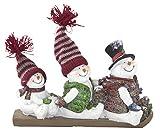 Deko Figur drei Schneemänner (B) auf Schlitten