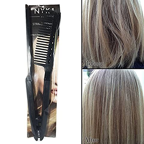 PROFESSIONAL Hair Straightening Styling Comb Brush for Curly, Thick or Coarse Hair by NYK1 - Great gift or add on