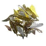 euhuton 100 Gramm Antik Bronze Tibetanische Zufällige Mischung Charms Mischung Charms Anhänger (Feder) DIY Charme DIY Halskette Anhänger