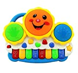 #7: SUPER TOYS Drum Keyboard Musical Toys with Flashing Lights - Animal Sounds and Songs, Multi Color.