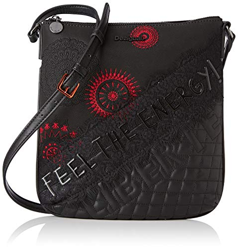 Desigual Damen Bag Rep Comunika Kaua Umhängetasche, Schwarz (Negro), 4x28.5x26.2 cm