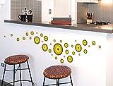 I-love-Wandtattoo WAS-10162 Retro Wandtattoo Set 'Retro Dots in Braun, Grün und Gelb' 35 Stk Wandsticker Wandaufkleber Sticker Wanddeko