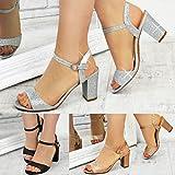 Fashion Thirsty Damen Sandaletten mit Blockabsatz & Glitzer - für Hochzeit