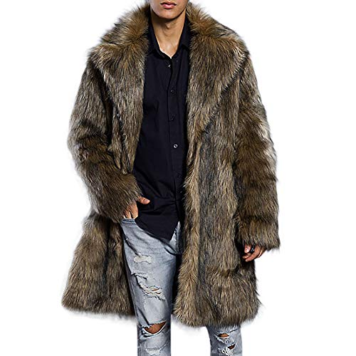 KPILP Herren Leopard Herbst Winter Warmer Mantel Faux Fur Solide Parka Outwear Dicker Pelzkragen Lange Strickjacke(B-braun, M)