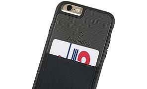 Sinjimoru Coque iPhone 6/6s avec porte-cartes, étui pour carte iPhone 6/6s ou étui portefeuille pour iPhone 6/6s avec porte-cartes. Etui Sinji Pouch pour iPhone 6/6s, Noir