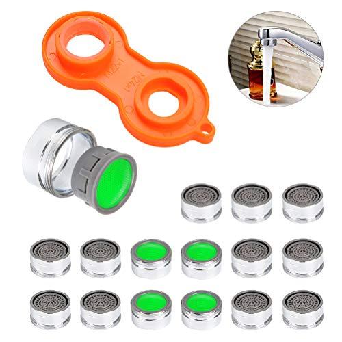 FOCCTS 16 Stück 24mm Außengewinde Wasserhahn Belüfter Low Flow Wassersparhahn Belüfter mit 1 Stück Universaler Schraubenschlüssel für Küche Waschbecken Bad Badewanne - Low-flow-wasser
