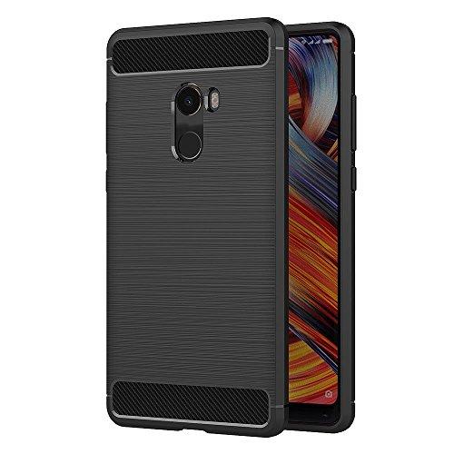 Funda para Xiaomi Mi Mix 2 (5,99 Pulgadas) TPU Silicona Carcasa Fundas Protectora con Shock Absorción y Diseño de Fibra de Carbon (Negro)