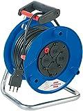 Brennenstuhl Garant, Kabeltrommel leer mit Steckdosen (Trommel aus Kunststoff blau) Kabeltrommel Außenbeleuchtung für Elektro-Kabel Und Stecker Schuko und italienische