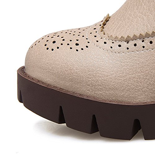 AllhqFashion Damen Mittler Absatz Rein Rund Zehe Weiches Material Ziehen Auf Stiefel Cremefarben