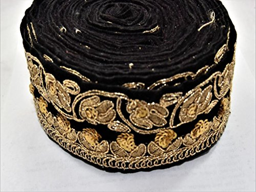 The Design Cart Black Velvet and Golden Flower Design Border (2 Meters) for Dress