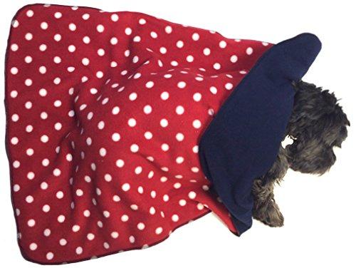 hundeinfo24.de Personalisierte Hundedecke, gemütlich, Rot mit weißen Punkten / Marineblau (Rückseite), 70  90 cm