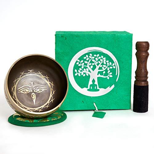 Klangschale aus Nepal - 200g - 8cm - für Schule - Meditation - Aufmerksamkeit - Achtsamkeit - Klangtherapie - 5 Metalle - Rosenholz Klöppel mit Leder - Set in handgeschöpfter Loktapapier Box