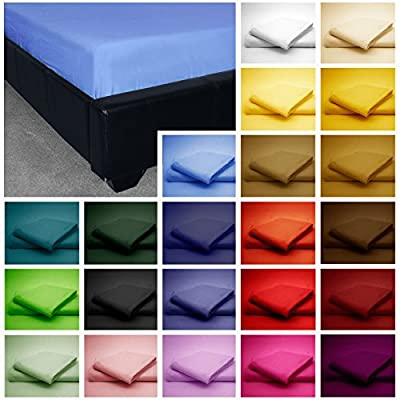 GlampTex (tm) BED SHEETS FITTED SHEET LUXURY BEDDING SHEET SINGLE DOUBLE KING SUPER KING - low-cost UK light store.