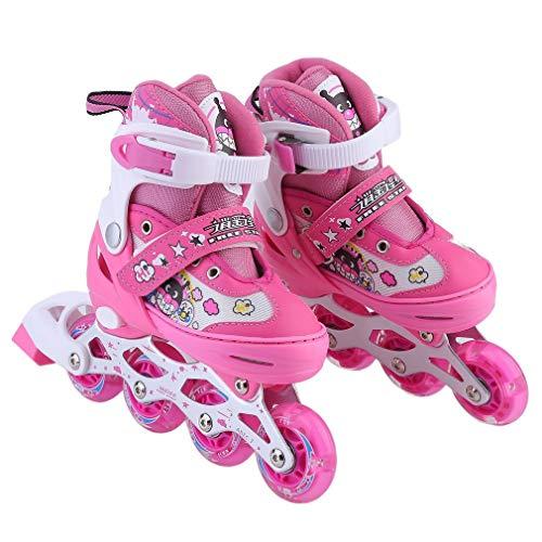 Blackpoolal Kinder Inline Skates Rollerblades Mädchen Rollerskates Rollschuhe 30-33, 34-37 Verstellbar Schutzset Inliner für Kinder Jungen Anfänger (M, 34-37)