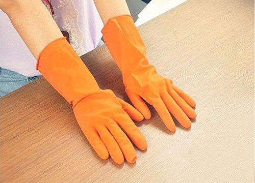 YA-Uzeun wasserdichte Latexhandschuhe für Geschirrwäsche Waschen, Hausarbeit, Orange