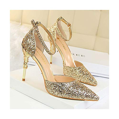 Luxury Brand Metal High-Heeled Shoes Sexy Party Club Bling Sequin Pumps 9.5cm Thin Heels Ankle Strap Sandals Woman Shoes Gold 6.5 Jessica High Heel Pumps