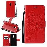 Tasche für Lenovo ZUK Z2 Pro (5.2 zoll) Hülle, Ycloud PU Ledertasche Flip Cover Wallet Case Handyhülle mit Stand Function Credit Card Slots Bookstyle Purse Design Katze Baum Schmetterling Geprägt Rot