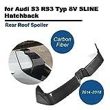TGFOF Echte Carbon Heckspoiler Angepasst Heckspoilerlippe Tuning Spoiler Kohlefaser Kofferraumlippe für S3 RS3 Typ 8V A3 SLINE Hatchback 4-Türer 2014-2018