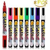 Rotuladores de tiza líquida ,KOROSTRO 8 colores (Punta biselada 6mm) brillantes y brillantes,punta biselada 6mm– borrado en seco Erase