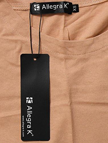 Allegra K Damen Kalt Schulter Kontrast Farbe Roh Edge Tunika Oberteile Top Rosa